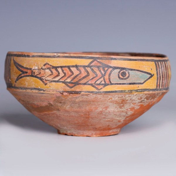 Indus Valley Terracotta Bowl with Polychromatic Fish Decoration