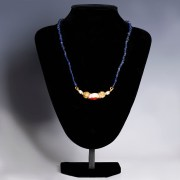 Late Roman Restrung Glass Necklace with Gold Beads