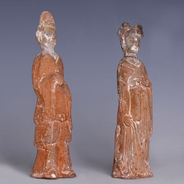 Pair of Chinese Northern Wei Dynasty Painted Figurines
