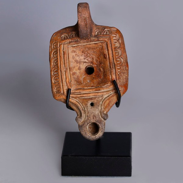 Roman Terracotta Square Oil Lamp