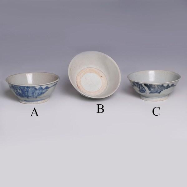 Selection of Tek Sing Bowls with Landscape Scenes