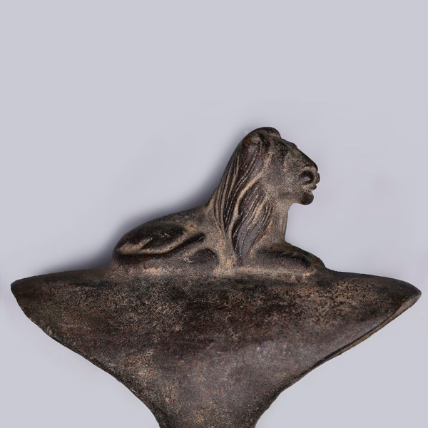 Western Asiatic Urartu Bronze Socketted Long Axehead with Lion