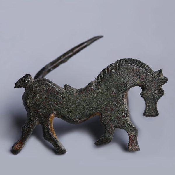 Ancient Roman Bronze Horse Brooch