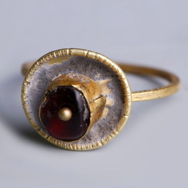 Ancient Roman Gold Ring with Garnet Stone
