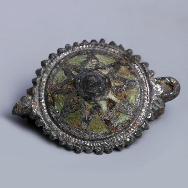 Ancient Roman Tutulus Enamelled Fibula