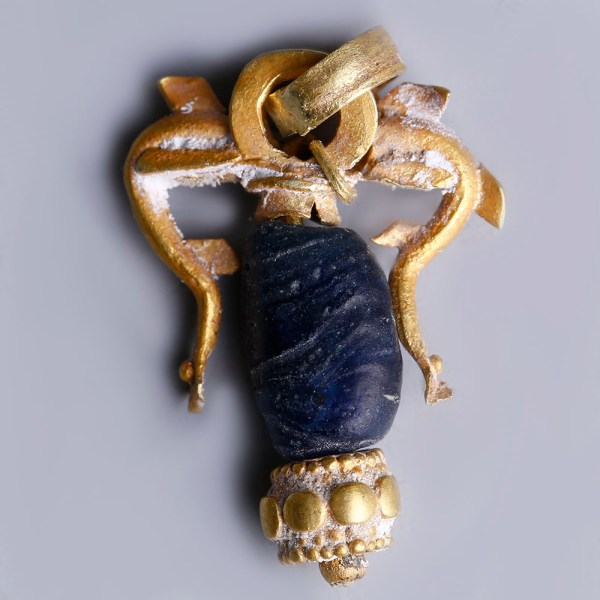 Greek Hellenistic Gold Pendant with Dolphins