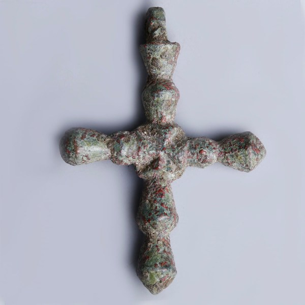 Very Fine Late Roman-Byzantine Bronze Cross Pendant
