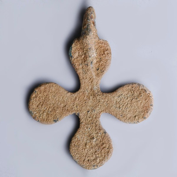 Late Roman-Byzantine Bronze Cross Pendant with Circular Finials