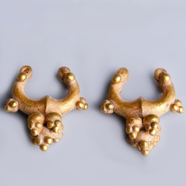 Near Eastern-Western Asiatic Pair of Gold Earrings with Granules
