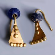 Western Asiatic Matching Pair of Gold and Glass Earrings