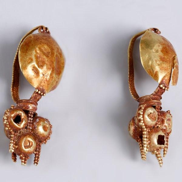 Roman Shield Boss Gold Earrings