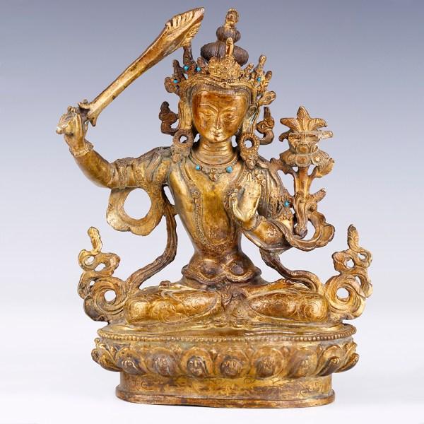 Tibetan Bronze Statuette of Bodhisattva Manjushri