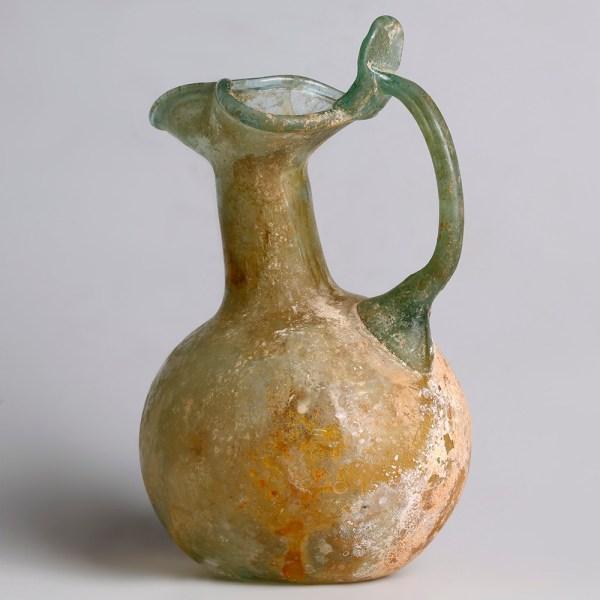 Ancient Roman Glass Jug with Trefoil Rim