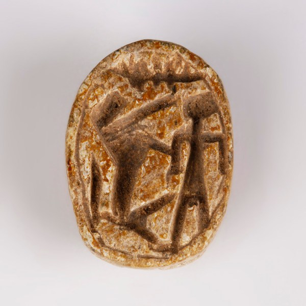 Egyptian Steatite Scarab with Hunting Scene