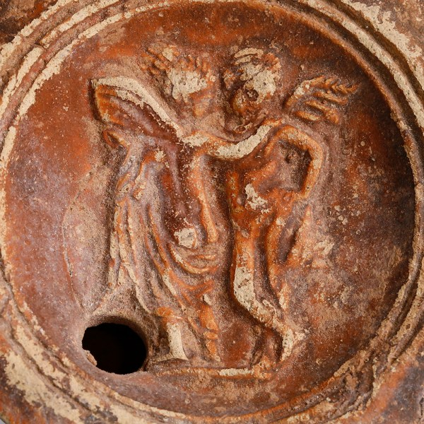 Roman Terracotta Oil Lamp with Cupid and Psyche
