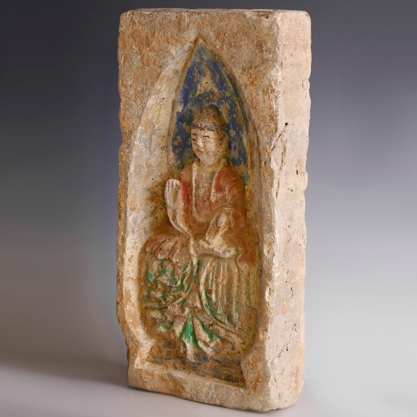 Chinese Northern Wei Brick with Enthroned Guanyin