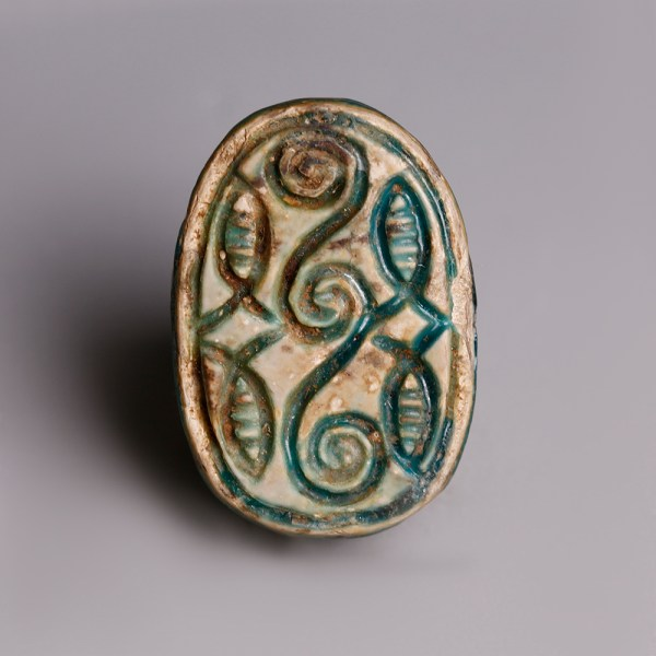 Egyptian Turquoise Glazed Steatite Scarab with Geometric Pattern