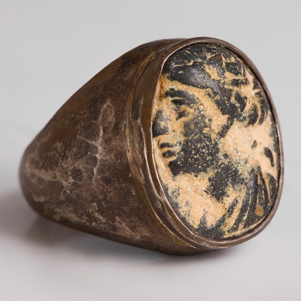 Hellenistic-Ptolemaic Bronze Ring in Modern Setting depicting Berenice II