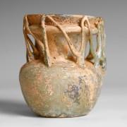 Ancient Roman Glass Jar with Openwork Collar