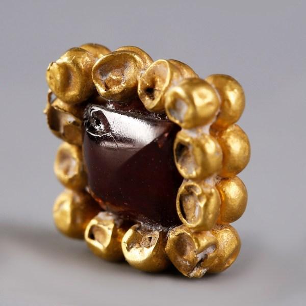 Medieval Gold Framed Garnet Bead