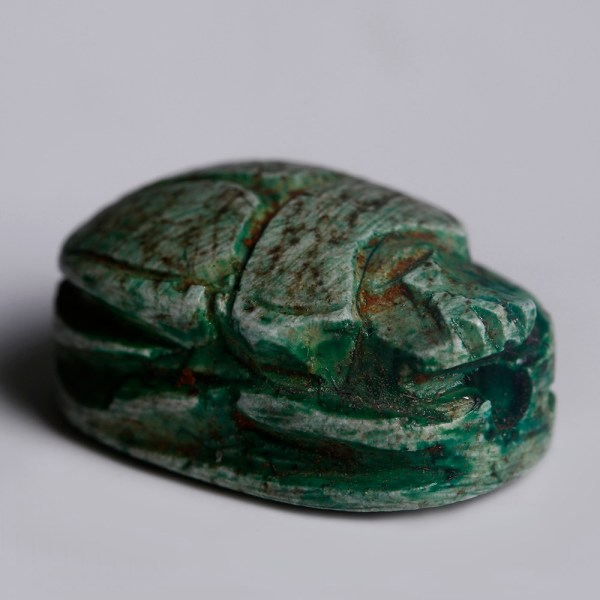 Egyptian Turquoise Faience Scarab Dedicated to Amun