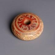 Egyptian Coptic Bone Painted Spindle Whorl