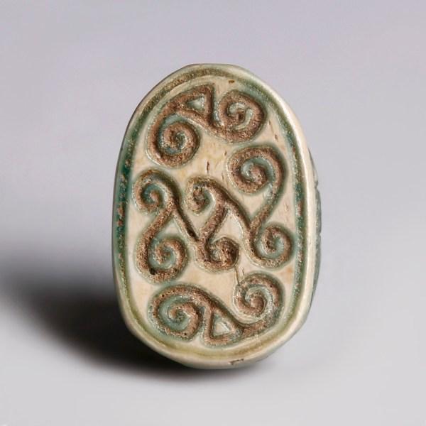 Egyptian Glazed Steatite Scarab with Scrolls