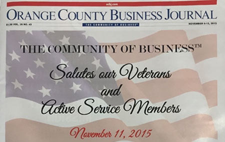 """Antis on the cover of OC Business Journal """"Salutes Our Veterans & Active Service Members"""""""
