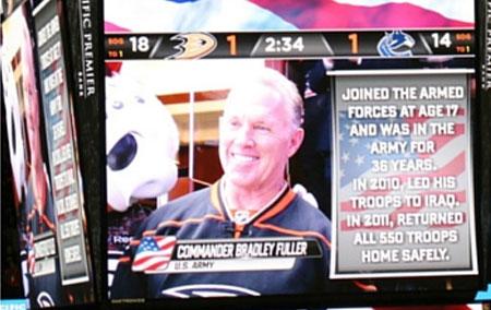 """Brad Fuller Is A True American Hero!"" – Phil Hulett, Anaheim Ducks Announcer, Opening Night October 12, 2015"