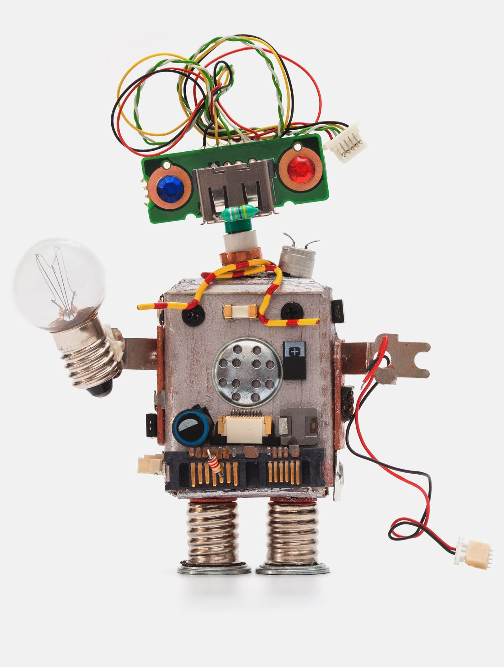 hight resolution of oops 404 error page not found futuristic robot concept with electrical wire hairstyle circuits socket chip toy mechanism funny head colored eyes