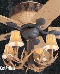"Standard Size Fans | 52"" Rustic Faux Antler Lodge Ceiling ..."