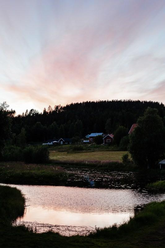 Campa i Järvsö solnedgång Myrängen