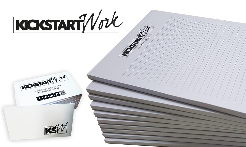 kickstartwork logo design and notepads