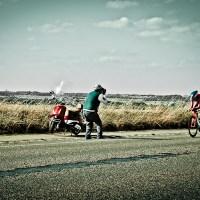 Met zijn rode scooter (WK Limburg 2012, TTT)