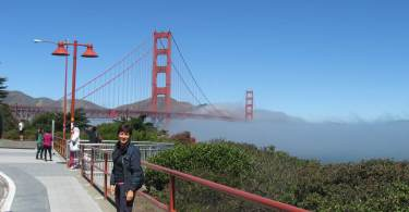 Antonietta Polcaro al Golden Gate di San Francisco.