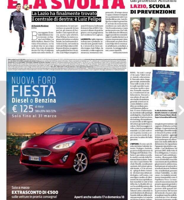 Corriere dello Sport: Lazio e prevenzione andrologica