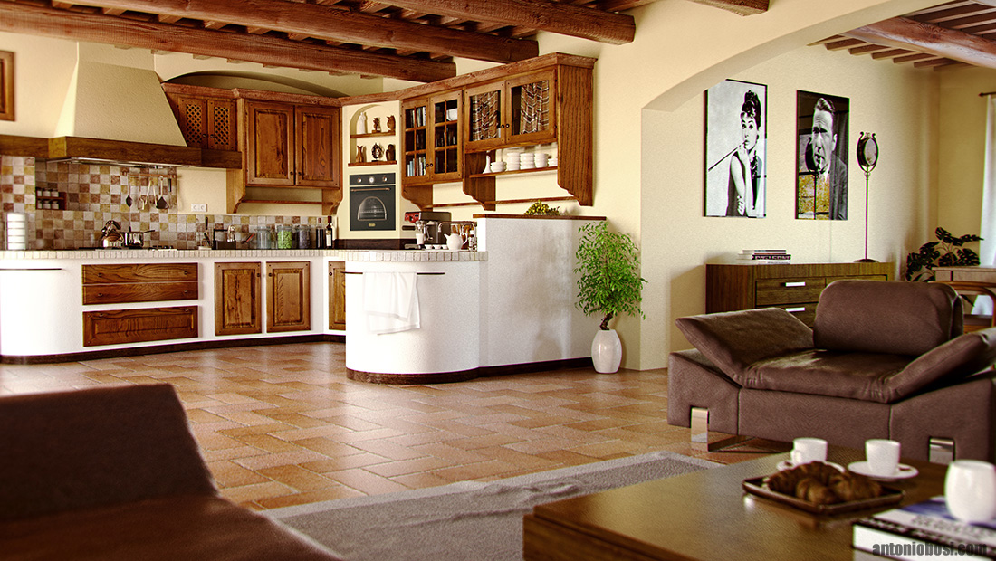 Interior Render in Maya and Mental Ray Tuscan Country