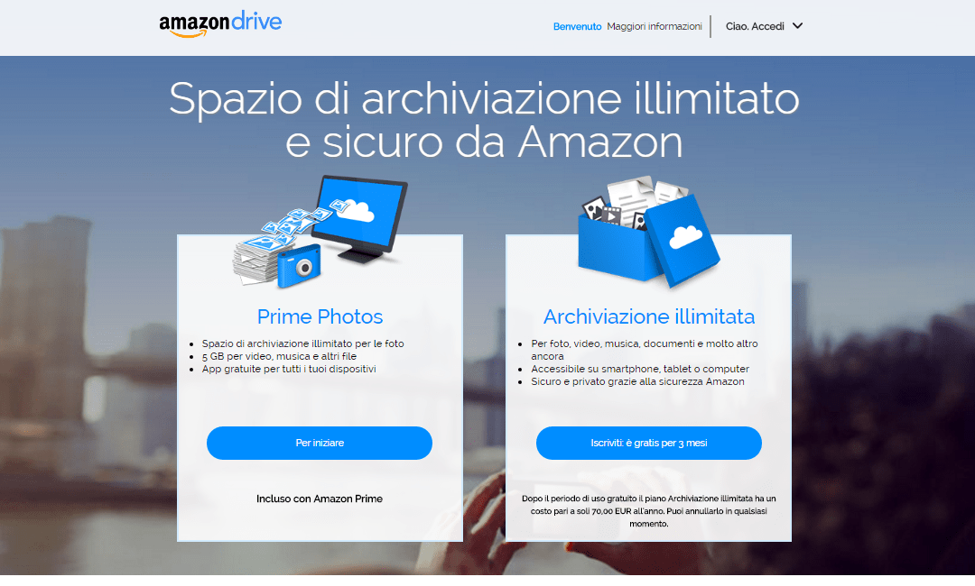 Amazon lancia il piano Archiviazione Illimitata online in Italia