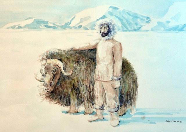 Čovjek i životinja na Sjevernom polu.