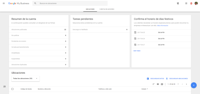 gestionar todas las ubicaciones en google my business