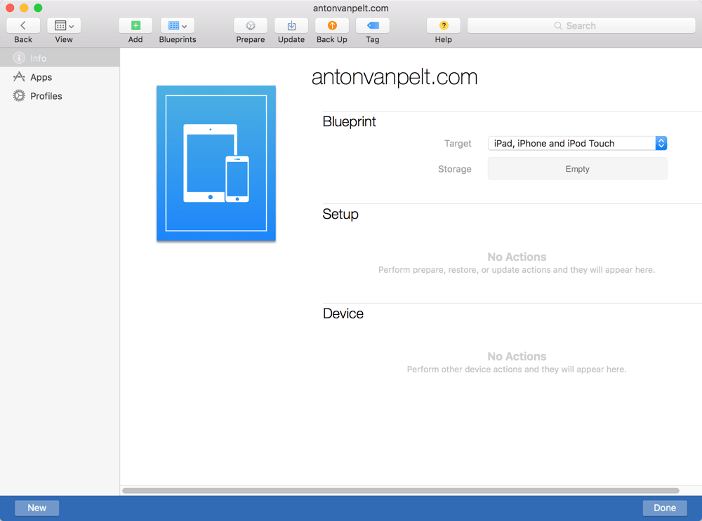Create Blueprint Apple Configurator