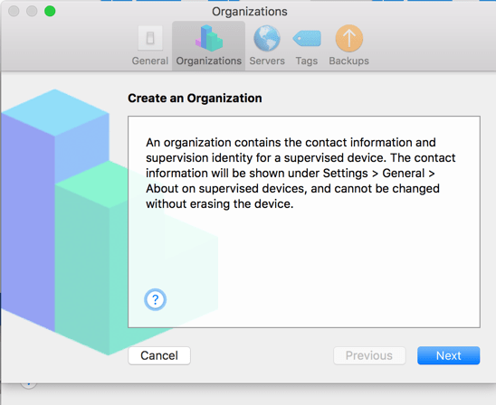 Create Organization Apple Configurator