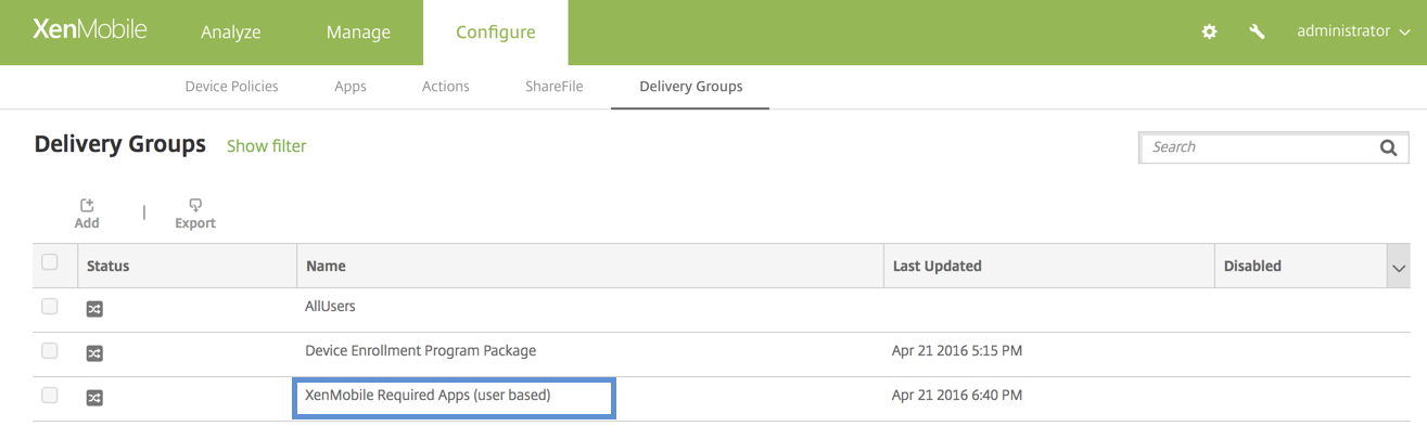 VPP XenMobile User Based Delivery Group