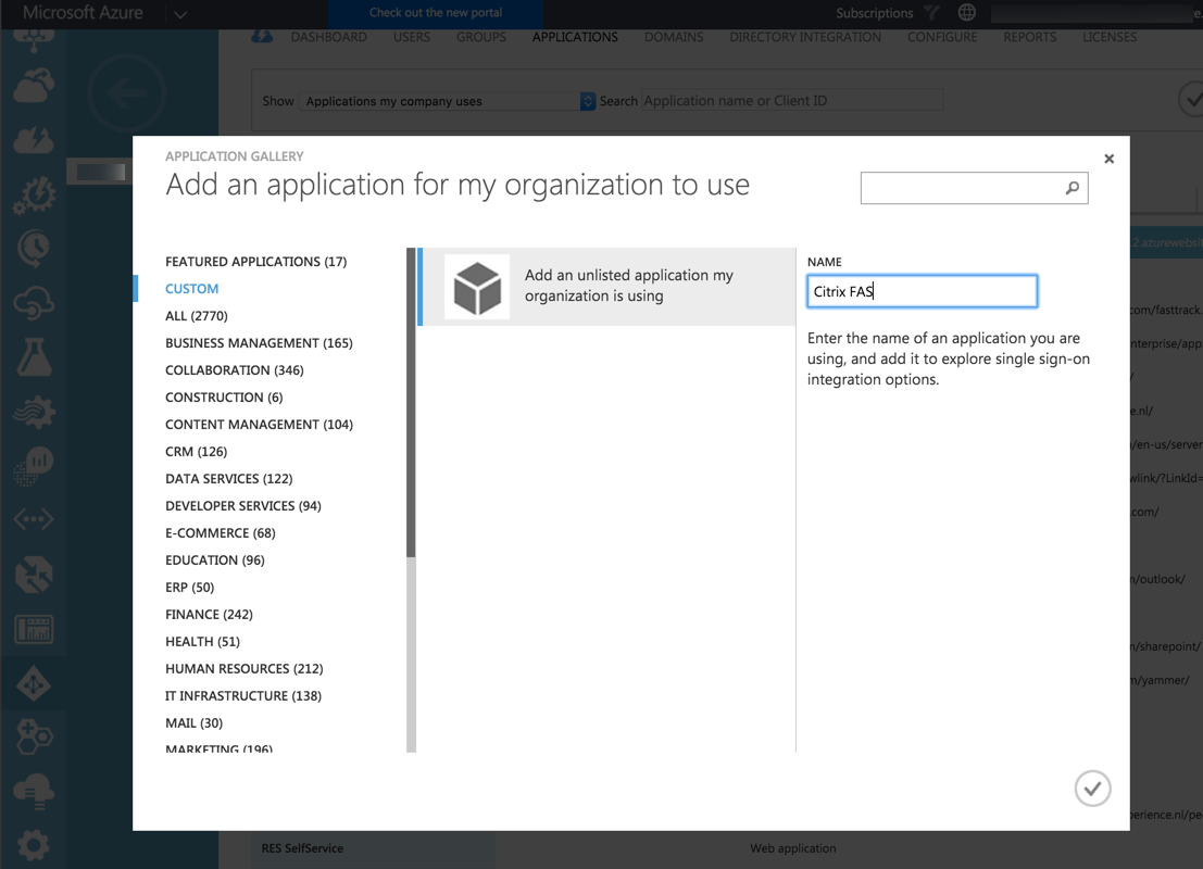 Azure AD - Citrix FAS - Custom Application