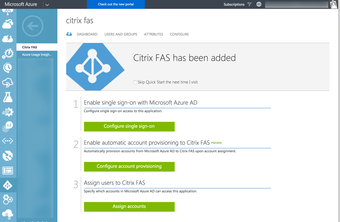 Azure AD - Citrix FAS - Application created
