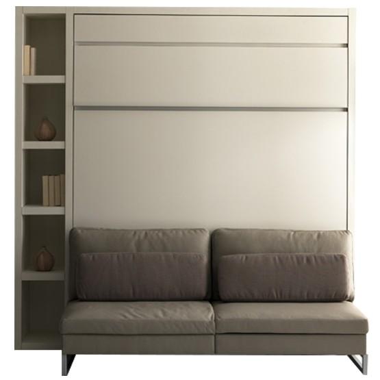 lit escamotable loft banquette couchage 160 x 200 et bibliotheque gauche