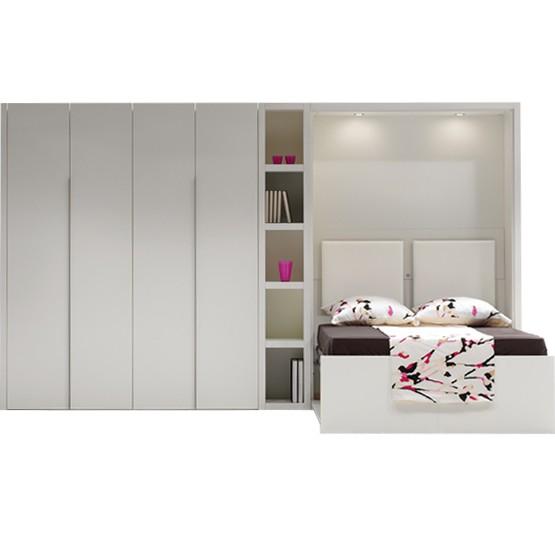 lit escamotable smart couchage 140 x 200 avec rangement et bibliotheque a gauche