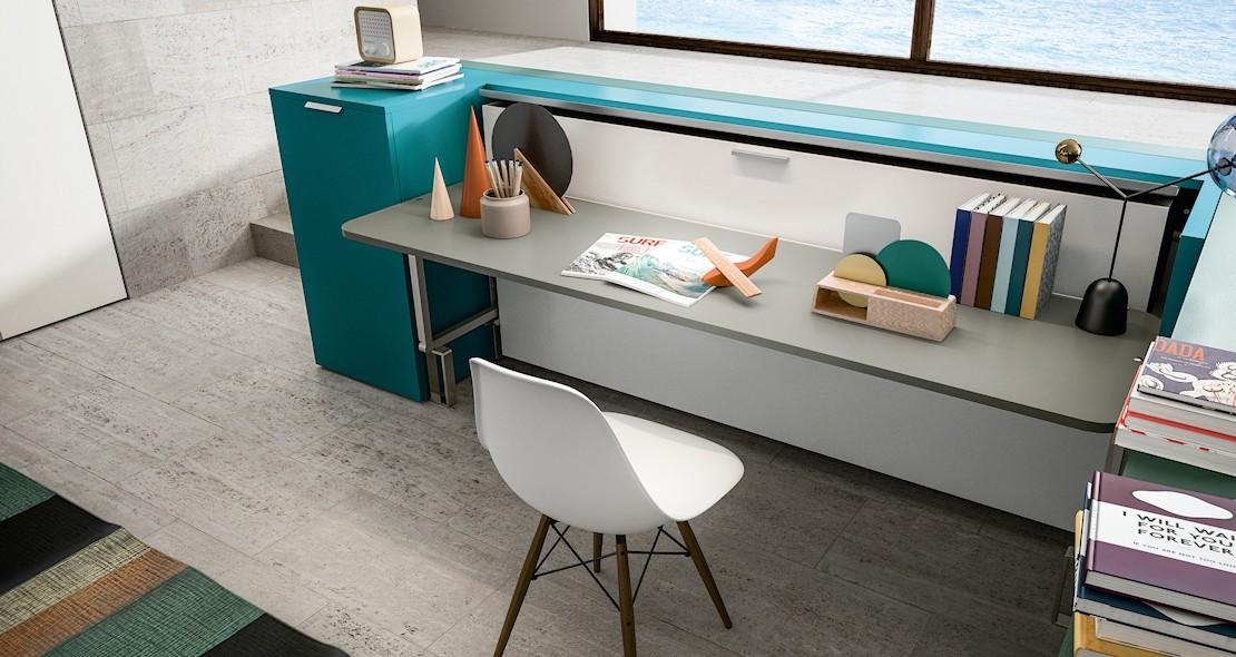 meuble lit escamotable avec bureau relevable et couchage 85x200