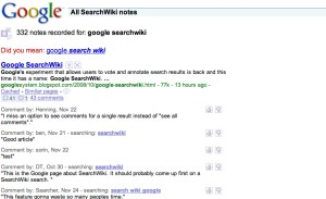 "SearchWiki results and comments for a search on ""Google SearchWiki"""