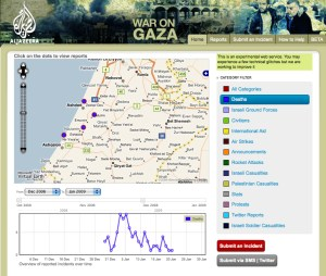Image: Al Jazeera's Gaza map on the Ushahidi platform